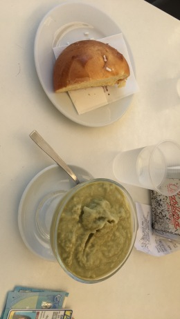 The best granita in the world. It is pistacchio with almond on the bottom, with broiche bread.