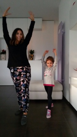 Sofia was teaching me how to do gymnastics!