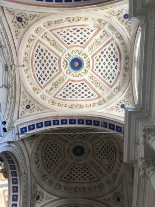 The ceiling of the amazing church in central Modica.