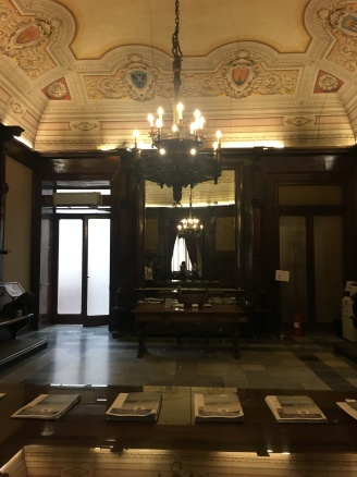 Inside the council building