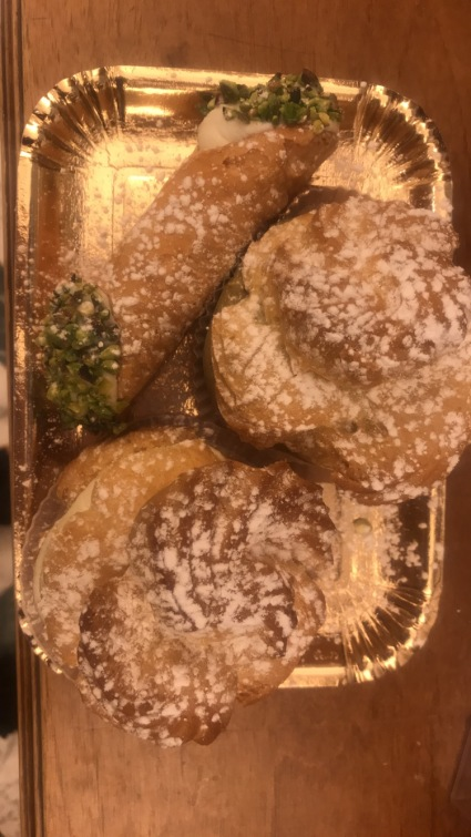 Some birthday beignets and cannolo from Bonajuto for Elena!